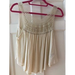 Off-white Beaded Flowy Top